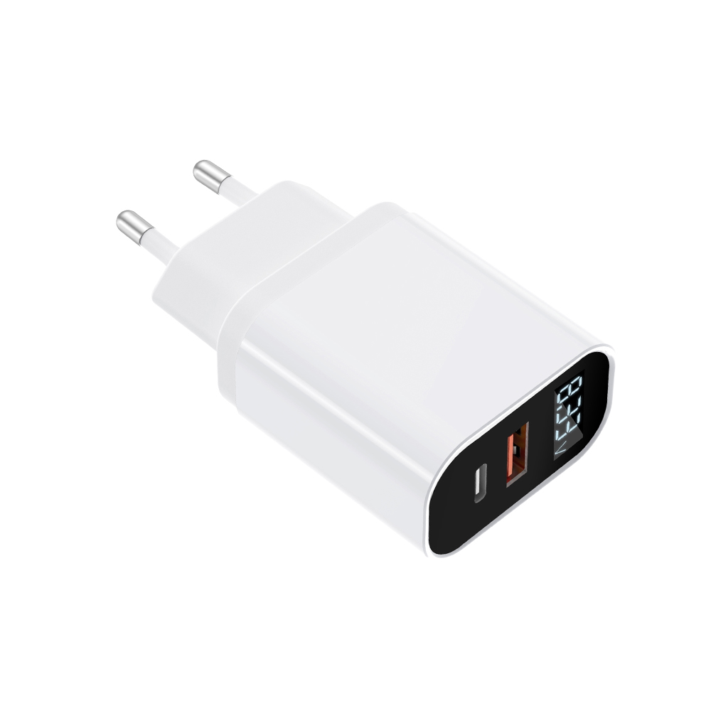 QC+PD Two USB Travel Charger with digital display
